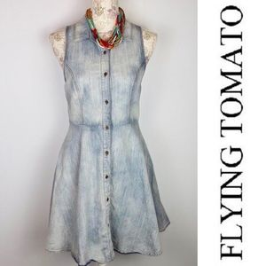 FLYING TOMATO DENIM DRESS